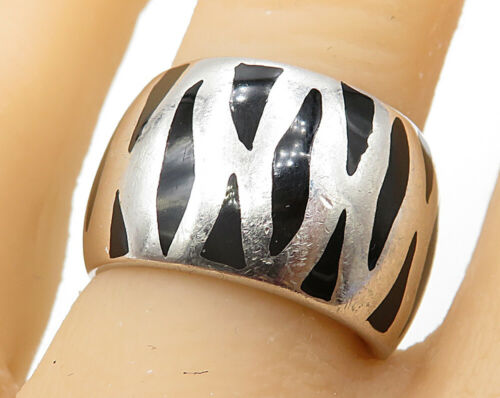 FII MENEGATTI 925 Silver - Vintage Black Enamel Striped Band Ring Sz 7 - R4766