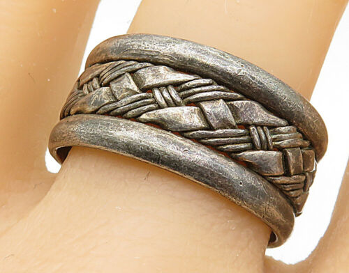 MEXICO 925 Sterling Silver - Vintage Interwoven Detail Band Ring Sz 12 - R6998