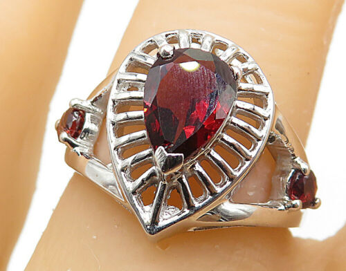 925 Sterling Silver - Garnet Open Carved Tear Drop Band Ring Sz 6.5- R7244