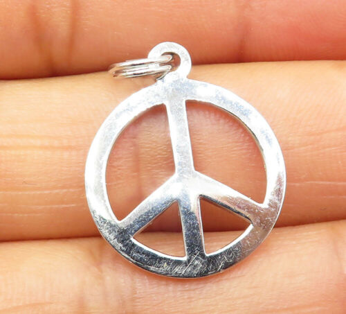 925 Sterling Silver - Smooth Minimalist Petite Peace Sign Drop Pendant - P6609