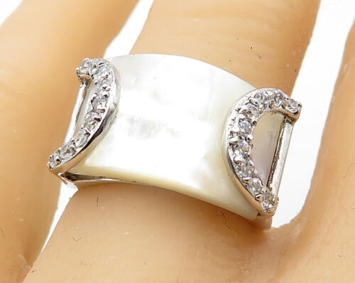 925 Silver - Vintage White Quartz & Cubic Zirconia Band Ring Sz 7 - R4651