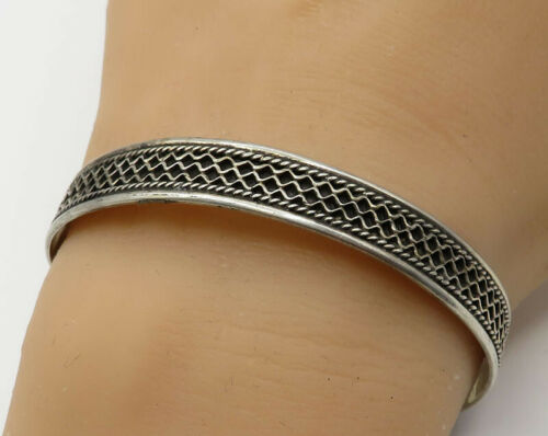 925 Sterling Silver - Vintage Waffle Pattern Rope Piping Cuff Bracelet - B2222