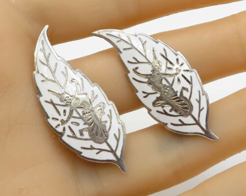SIAM 925 Sterling Silver - Vintage Goddess Feather Clip On Earrings - E1753