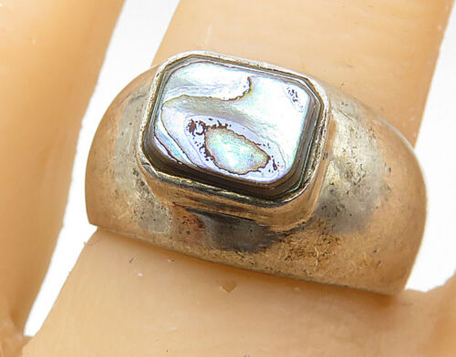 925 Sterling Silver - Vintage Square Abalone Shell Smooth Band Ring Sz 8 - R7007
