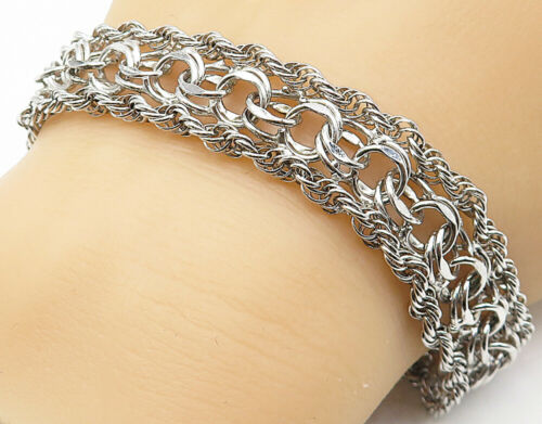 925 Sterling Silver - Shiny Rope Twisted Spiral Link Chain Bracelet - B4524