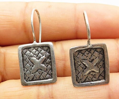 925 Silver - Vintage Petite Etched X Design Square Dangle Earrings - E4482