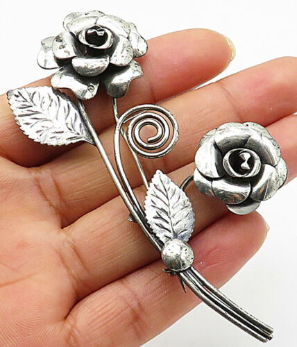 925 Sterling Silver - Vintage Bouquet Of Flower Brooch Pin - BP2192