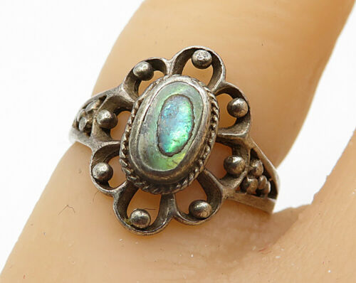 925 Silver - Vintage Oval Abalone Open Floral Solitaire Ring Sz 5 - R4709