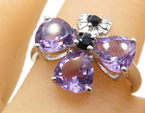 925 Silver - Amethyst & Sapphire Accent Love Heart Cluster Ring Sz 8 - R7309