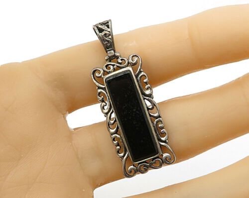 925 Silver - Vintage Inlay Black Onyx Framed Filigree Drop Pendant - P2548