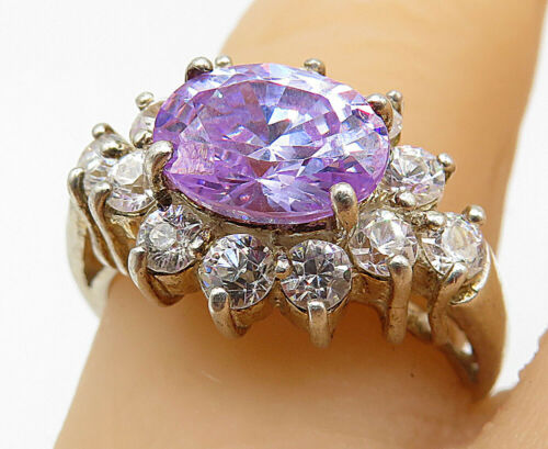 925 Silver - Sparkling Amethyst & Cubic Zirconia Cocktail Ring Sz 7 - R9120