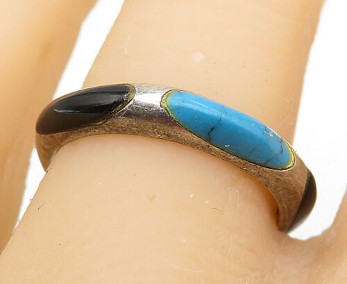 925 Silver - Vintage Turquoise & Black Onyx Smooth Round Band Ring Sz 8 - R9049