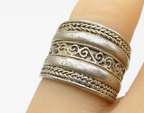 925 Sterling Silver - Vintage Swirl Detail Braided Trim Band Ring Sz 6 - R7292