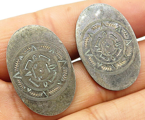 VS MEXICO 925 Sterling Silver - Vintage Antique Mayan Sun Cuff Links  - T1207