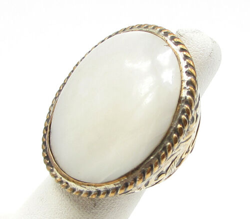 Vintage 925 Sterling Silver - Opal Twisted Rope & Filigree Ring Sz 5 - R1055