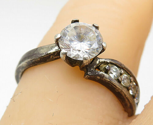 SETA 925 Silver - Vintage Cubic Zirconia Solitaire With Accents Ring Sz 7- R9039