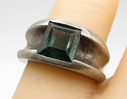 925 Sterling Silver - Vintage Square Green Topaz Concave Band Ring Sz 6 - R7296