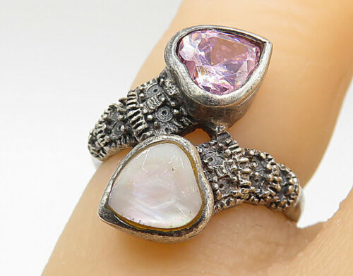 925 Silver - Vintage Opal Topaz & Marcasite Love Heart Bypass Ring Sz 4 - R7435