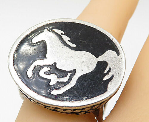 G&S 925 Silver - Vintage Large Black Onyx Horse Detail Cocktail Ring Sz 7- R9073