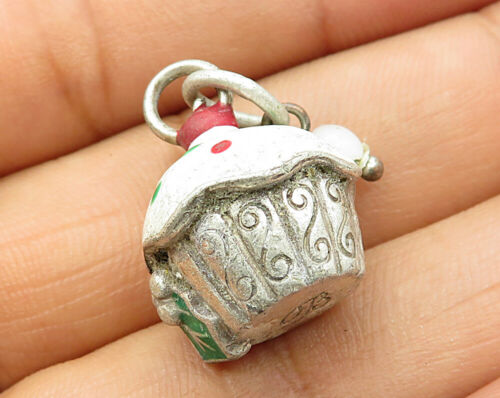 925 Sterling Silver - Vintage Cute Christmas Cupcake Holly Accent Pendant P2932