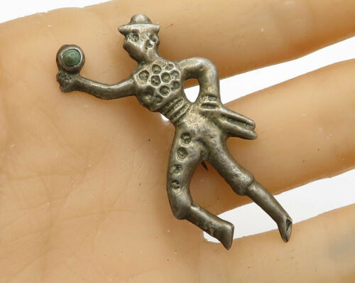 925 Sterling Silver - Vintage Antique Turquoise Dancing Man Brooch Pin - BP1488