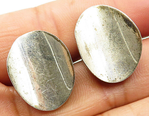 MEXICO 925 Sterling Silver - Vintage Oval Concave Designed Cuff Links - T1212