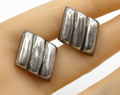925 Sterling Silver - Vintage Square Ridged Detail Clip On Earrings - E2026