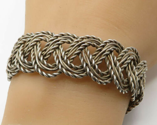 925 Sterling Silver - Vintage Braided Twisted Rope Detail Cuff Bracelet - B2114