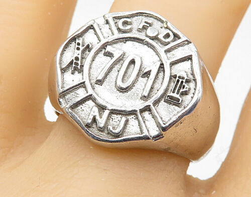 925 Sterling Silver - Large NJ Fire Department Shield Band Ring Sz 11 - R7371