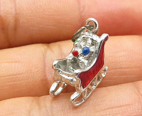925 Sterling Silver - Petite Enamel Decorated Sled Motif Pendant - P6945