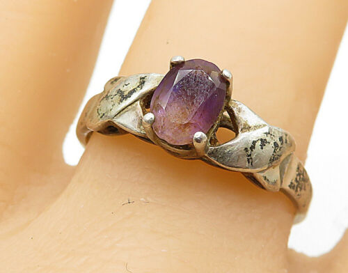 925 Silver - Vintage Amethyst Crossover Detail Solitaire Ring Sz 10 - R7261