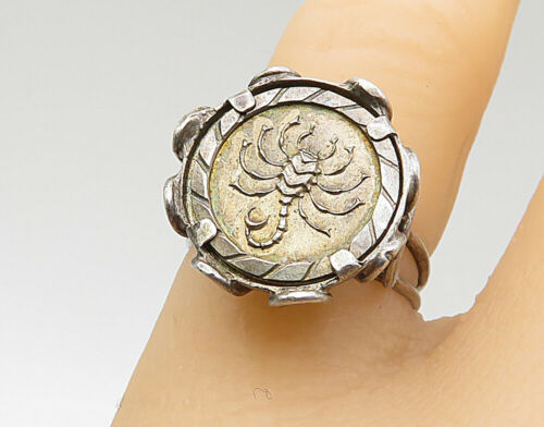 925 Silver - Vintage Etched Scorpio Wire Design Horoscope Ring Sz 5 - R6958