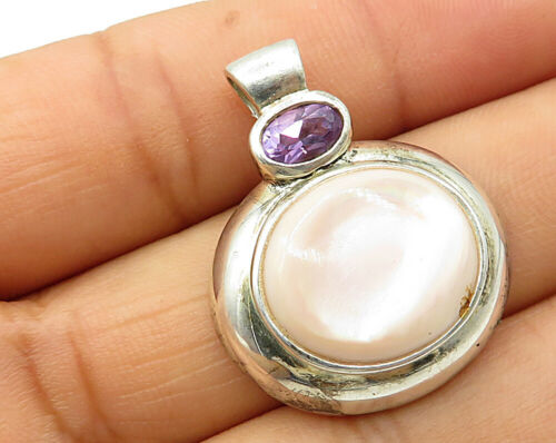 925 Silver - Vintage Cubic Zirconia & Mother Of Pearl Oval Pendant - P3131