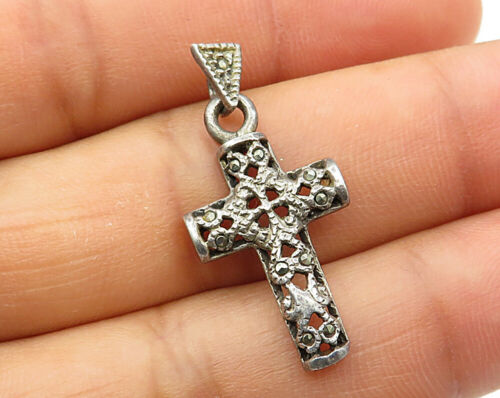 925 Sterling Silver - Vintage Marcasite Filigree Religious Cross Pendant - P3286
