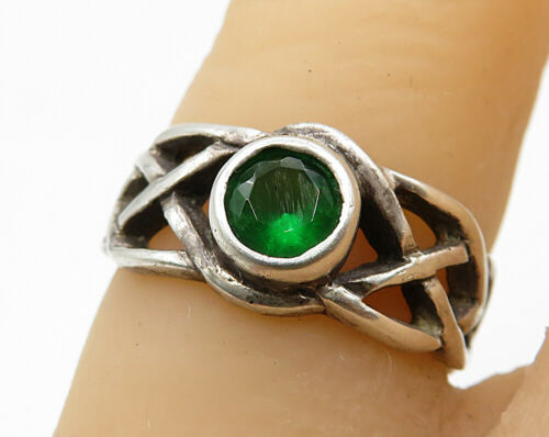 925 Sterling Silver - Vintage Braided Detail Green Topaz Ring Sz 5 - R3638