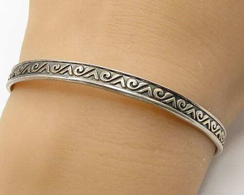925 Sterling Silver - Vintage Scroll Waves Design Cuff Bracelet - B2565