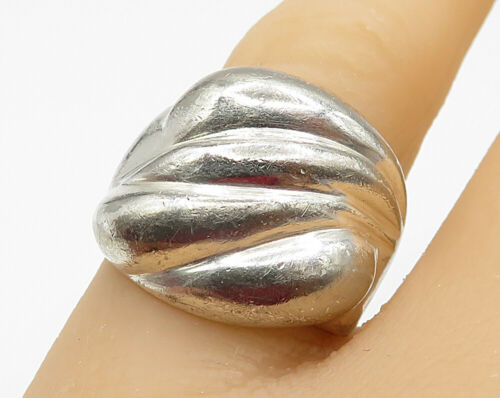 IBB 925 Sterling Silver - Vintage Dented Swirl Wide Band Ring Sz 6 - R4778