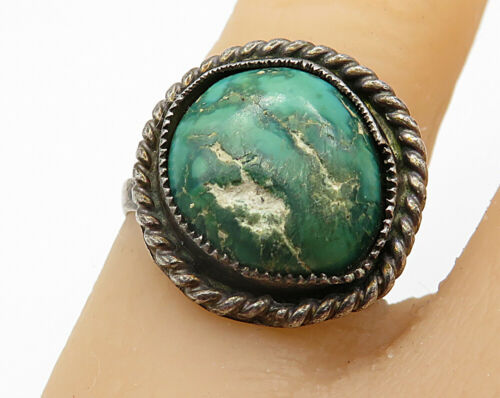 NAVAJO 925 Silver - Vintage Malachite Twisted Rope Solitaire Ring Sz 5.5- R4781