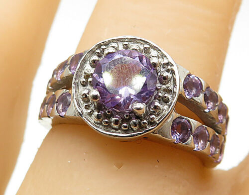 925 Silver - Amethyst Split Shank Solitaire With Accents Ring Sz 7 - R7353