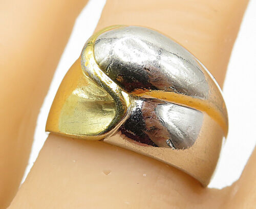 925 Sterling Silver - Two Tone Modernist Designed Smooth Band Ring Sz 8 - R8735