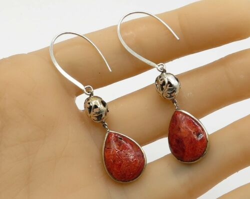 925 Silver - Vintage Jasper Tear Drop Filigree Sphere Detail Earrings - E1580