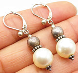 925 Sterling Silver - Vintage Faux Pearls Beaded Huggie Drop Earrings - E4022