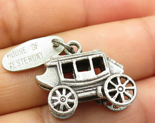 925 Sterling Silver - Vintage House Of Yesterday Carriage Pendant - P3281