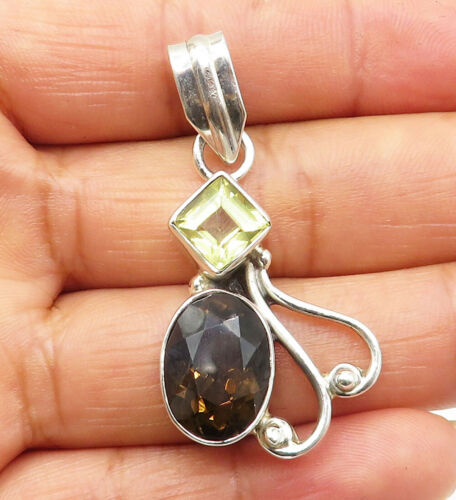 925 Sterling Silver - Smoky Quartz & Green Topaz Swirl Drop Pendant - P6604