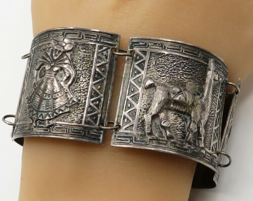 SCL 925 Sterling Silver - Vintage Antique Segmented Historical Bracelet - B1870