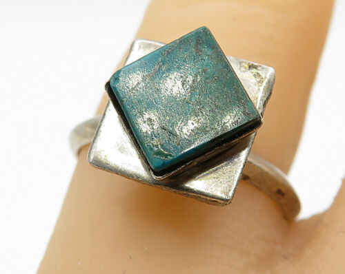 925 Sterling Silver - Vintage Inlay Green Malachite Solitaire Ring Sz 7 - R5616