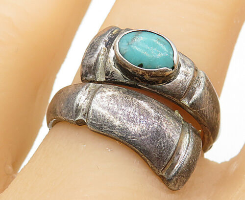 925 Sterling Silver - Vintage Turquoise Inlay Bypass Band Ring Sz 7 - R8728