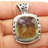 925 Silver - Vintage Faceted Green Topaz Baroque Swirl Drop Pendant - P6584