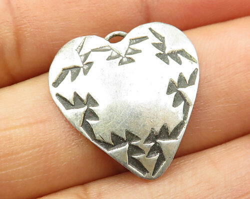 925 Sterling Silver - Vintage Tribal Love Heart Detail Pendant - P3273