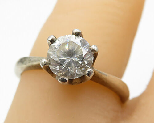 925 Sterling Silver- Vintage Round-Cut CZ Solitaire Ring Sz 7 - R5577
